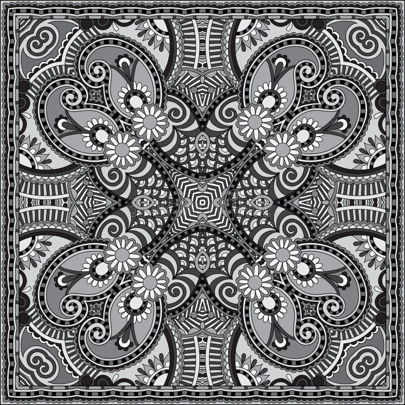 灰色装饰花卉佩兹利方巾 向量例证图片
