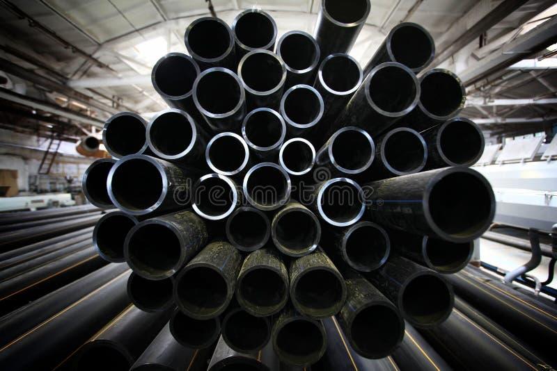 灰色配管用管道输送,产业,管子制造  库存照片