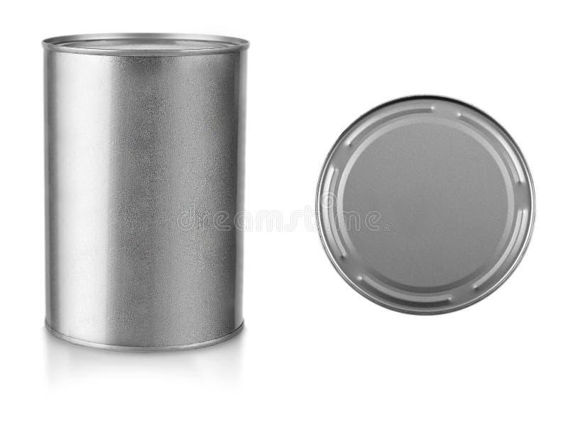 灰色金属关闭了在白色背景删去的罐 库存图片