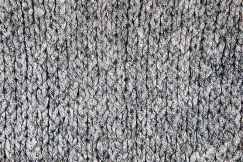 灰色针织品织品纹理 免版税库存图片