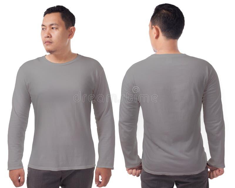 灰色长袖的T恤杉模板 库存照片