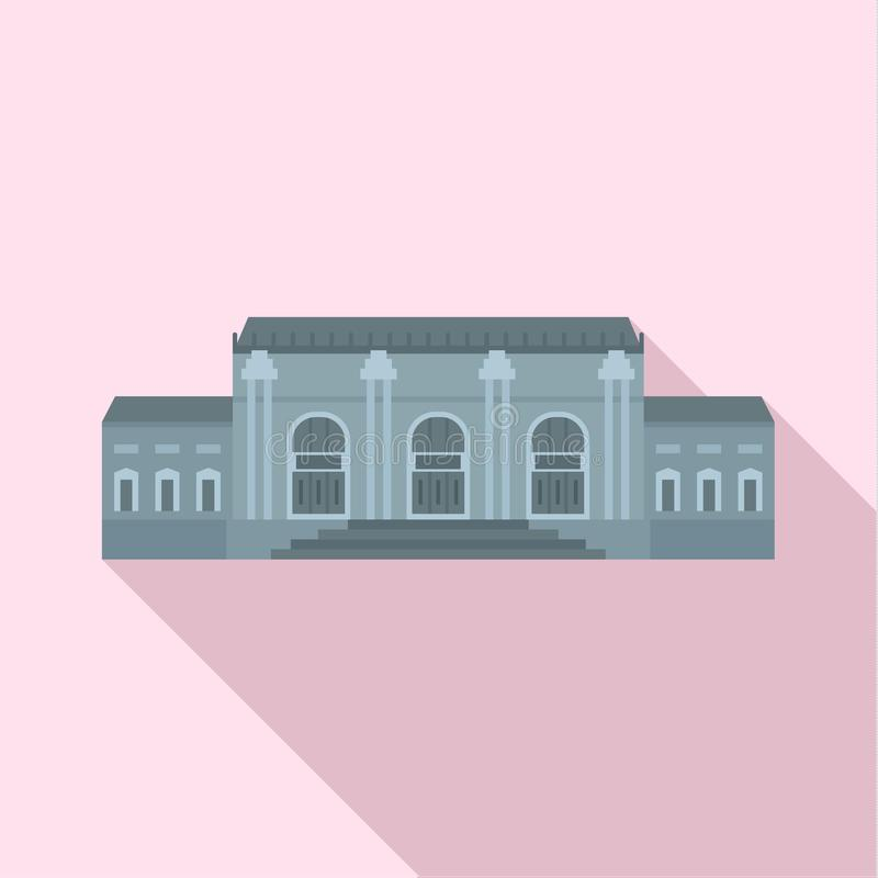 灰色门面历史大厦象,平的样式 向量例证