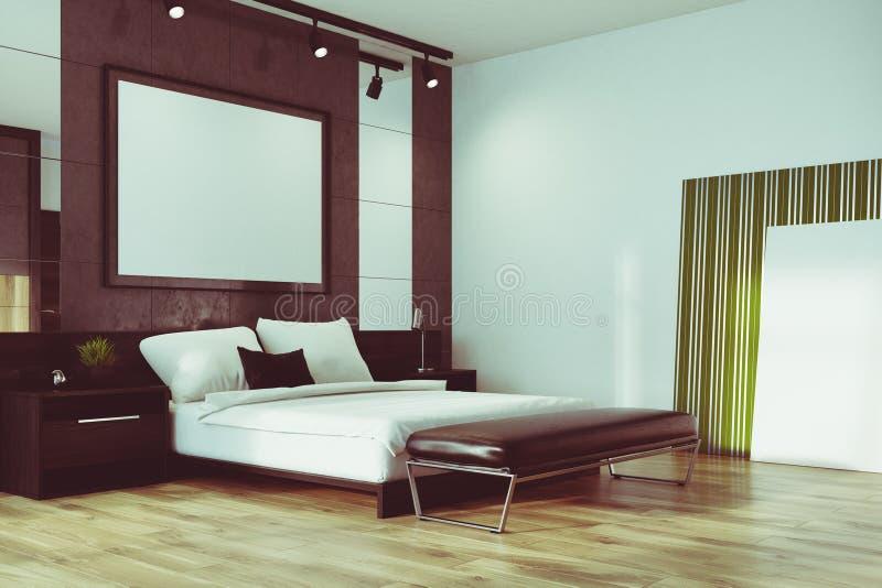灰色顶楼卧室,被定调子的海报角落 库存例证