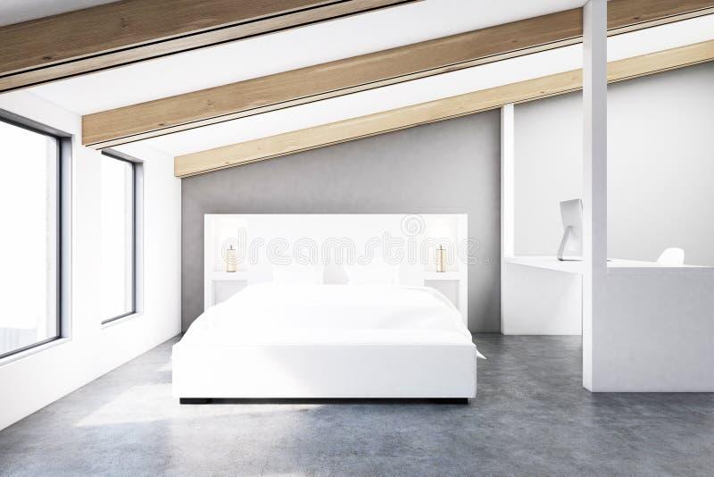 灰色顶楼卧室,水泥地板 向量例证