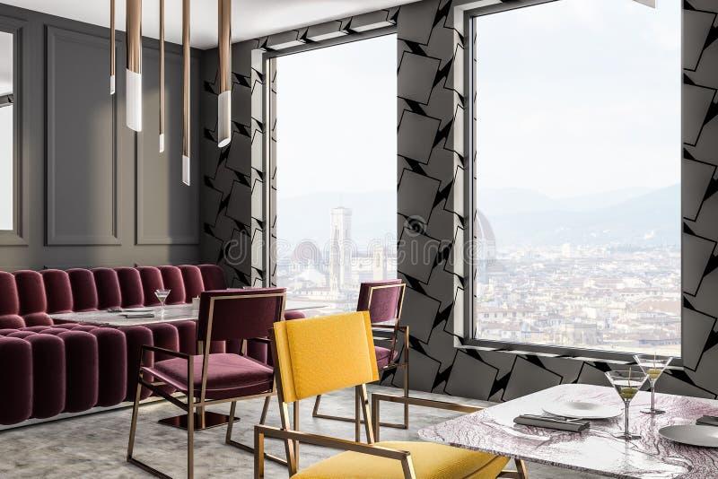 灰色顶楼咖啡馆角落红色沙发和椅子关闭  皇族释放例证