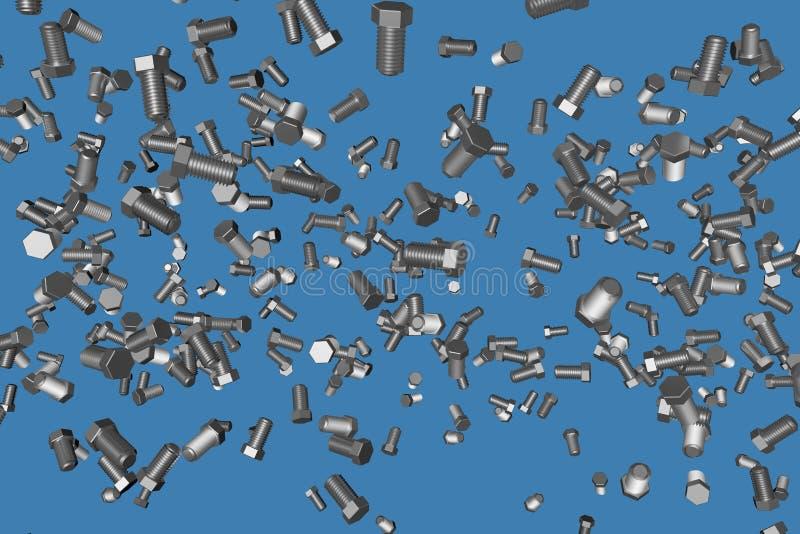 灰色,在青的美好的工业3D例证隔绝的金属螺栓,图片为其中任一使用 向量例证