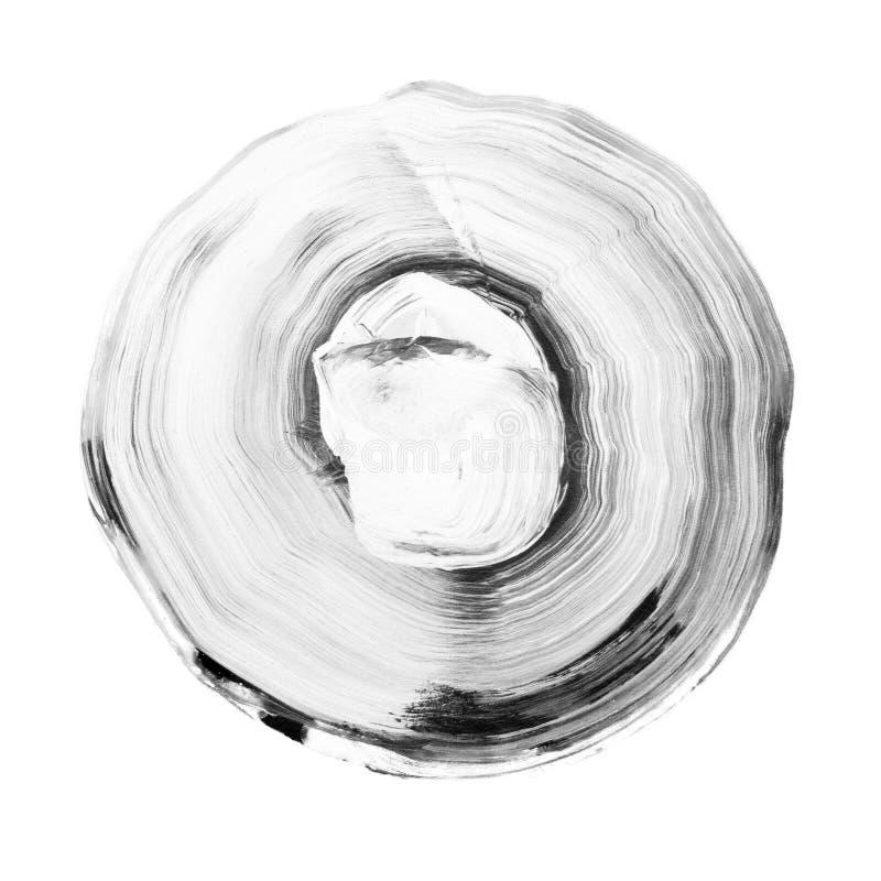 灰色织地不很细丙烯酸酯的圈子 在白色背景的水彩污点 皇族释放例证