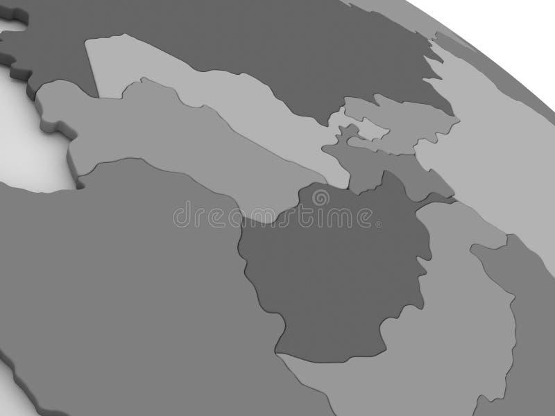灰色3D地图的中亚 皇族释放例证