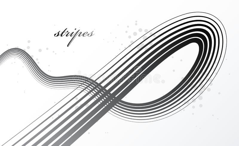 灰色3D线在行动尺寸传染媒介摘要背景,典雅的弯曲的轻的有条纹的设计元素,横幅的模板中或 皇族释放例证