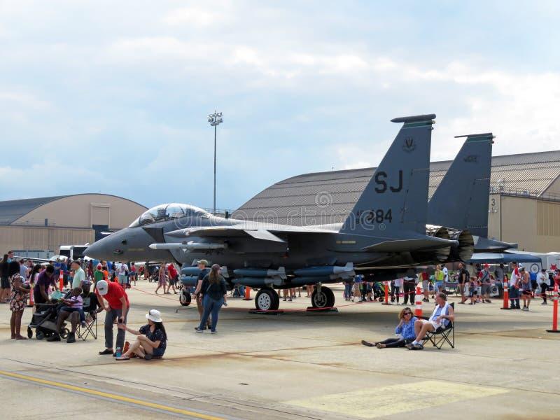 灰色F15老鹰喷气式歼击机 库存照片