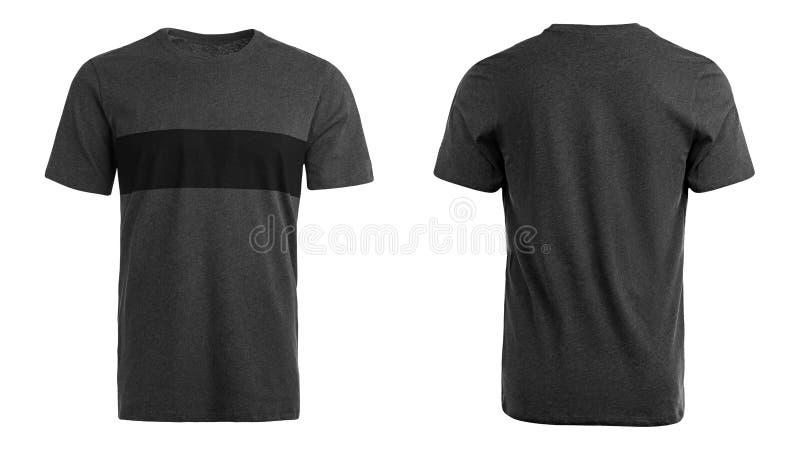 灰色T恤杉,衣裳,白色背景 免版税库存图片