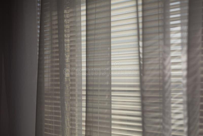 灰色transparen帷幕在宽百叶窗窗口 库存照片