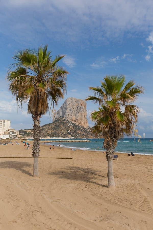 灰蓝灰岩肋前缘布朗卡有海滩的阿利坎特西班牙,棕榈树和Penon de Ilfach晃动 免版税库存图片