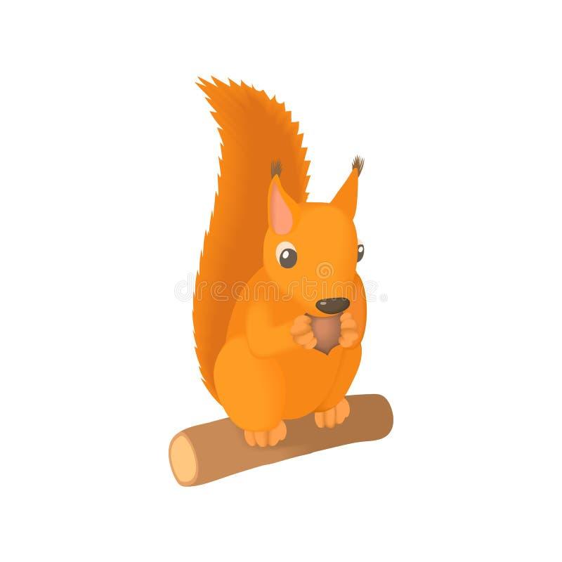 灰鼠咬坚果象,动画片样式 库存例证