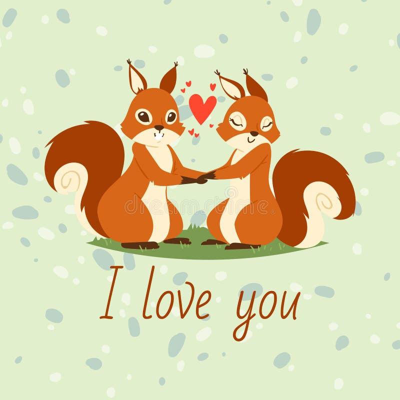 灰鼠在爱横幅,贺卡传染媒介例证结合 握手的动画片可爱的动物 ?? 皇族释放例证