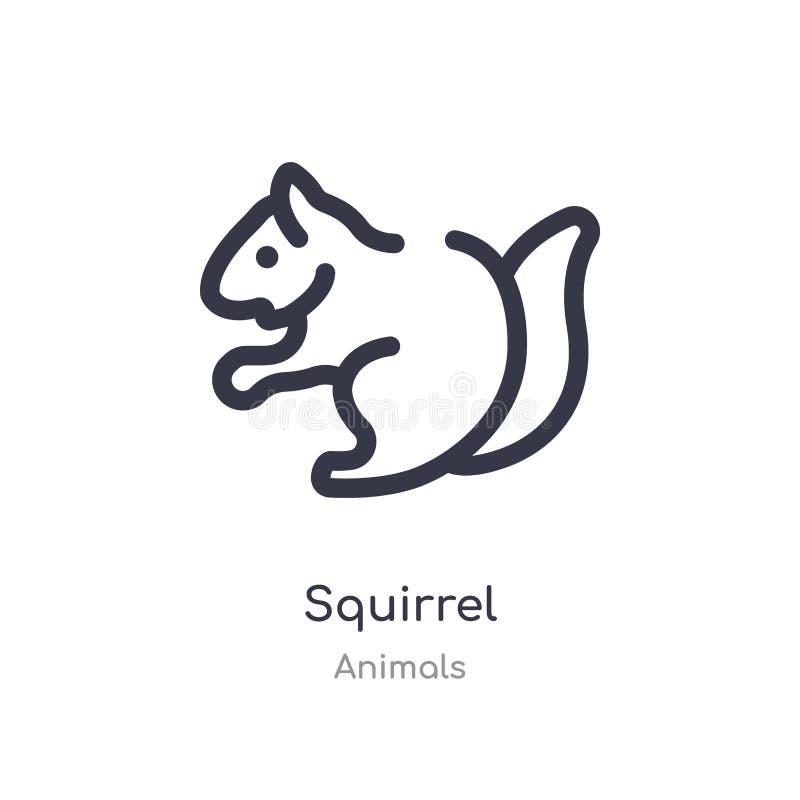 灰鼠概述象 r 在白色的编辑可能的稀薄的冲程灰鼠象 库存例证