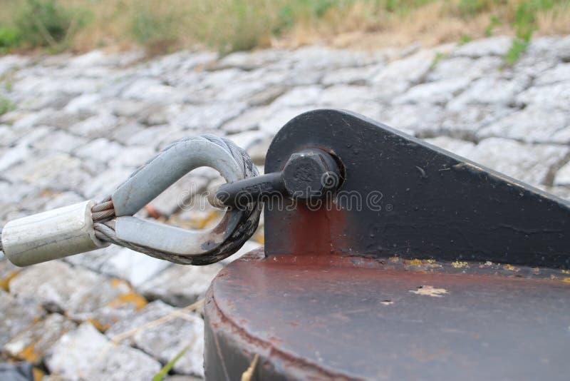 灵活的码头的词条的钢ancher对词条的鹿特丹水出租汽车在荷兰 库存图片