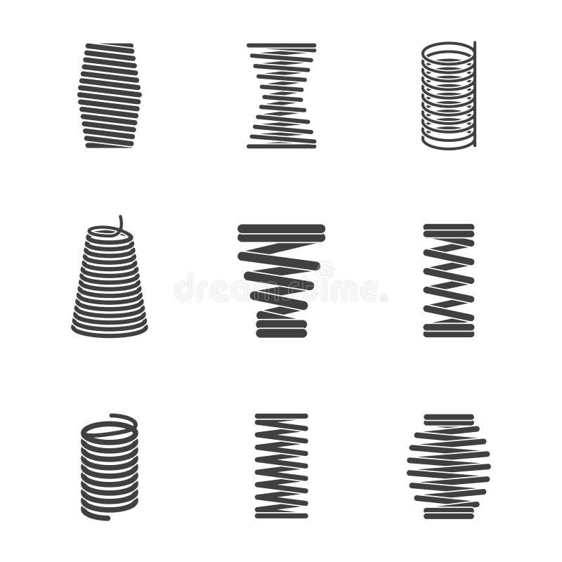 灵活的钢螺旋 金属化弯曲的导线卷塑造有弹性,并且变紧密的形式导航被隔绝的象剪影 皇族释放例证