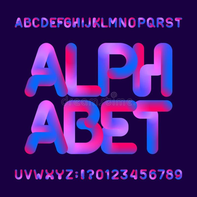 灵活的3d字母表字体 大写字目和数字 库存例证