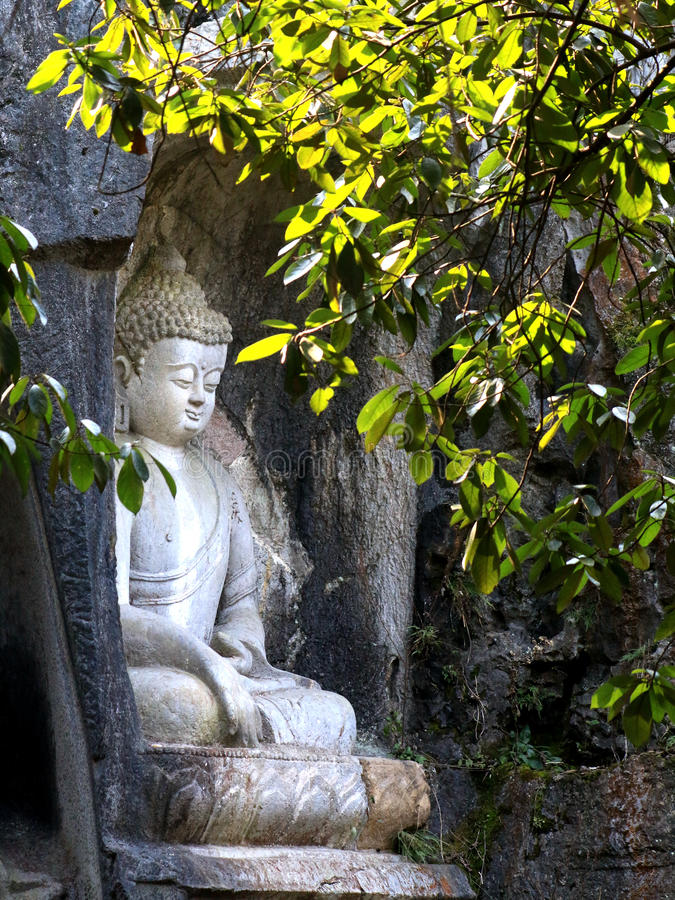 灵隐寺klippe佛教洞穴雕象 图库摄影