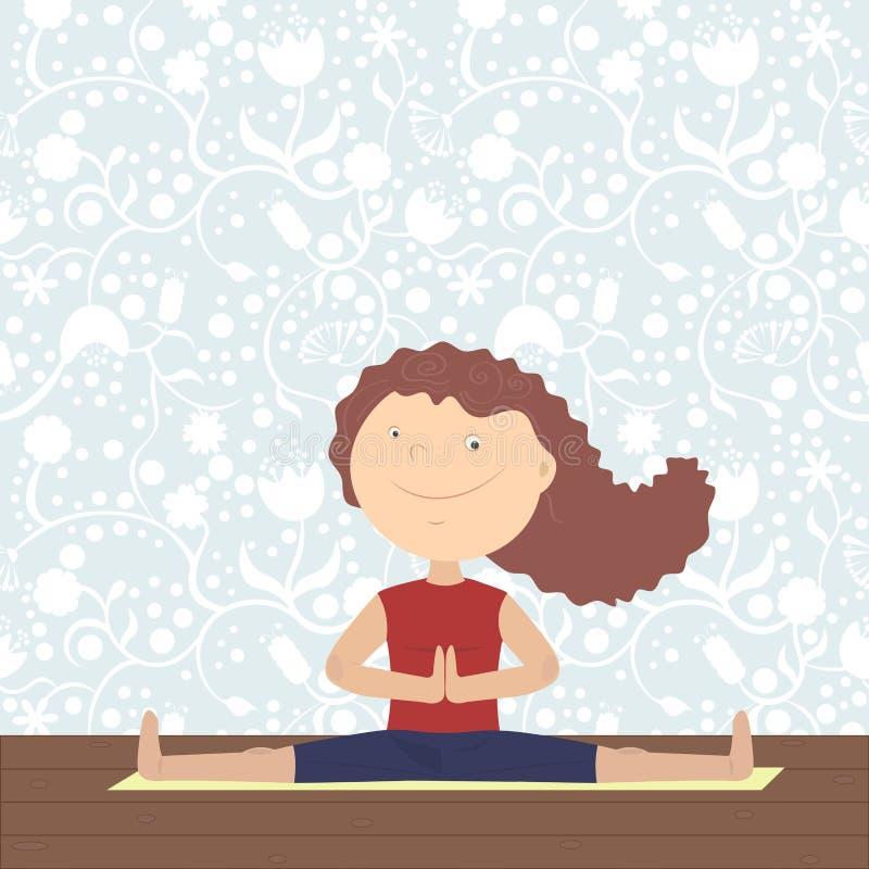 灵魂、身体和头脑的瑜伽 库存例证