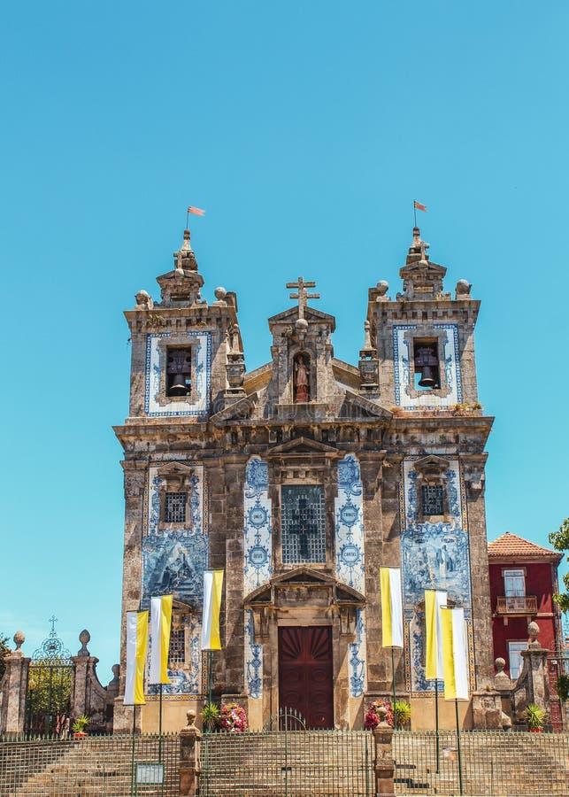 灵魂教堂在波尔图,葡萄牙 免版税库存图片