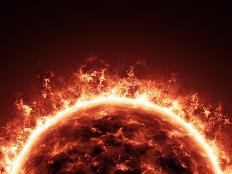 灼烧太阳在空间特写镜头 库存照片