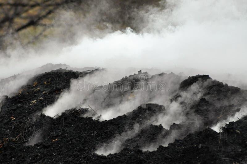 灼烧的木炭堆 免版税库存照片