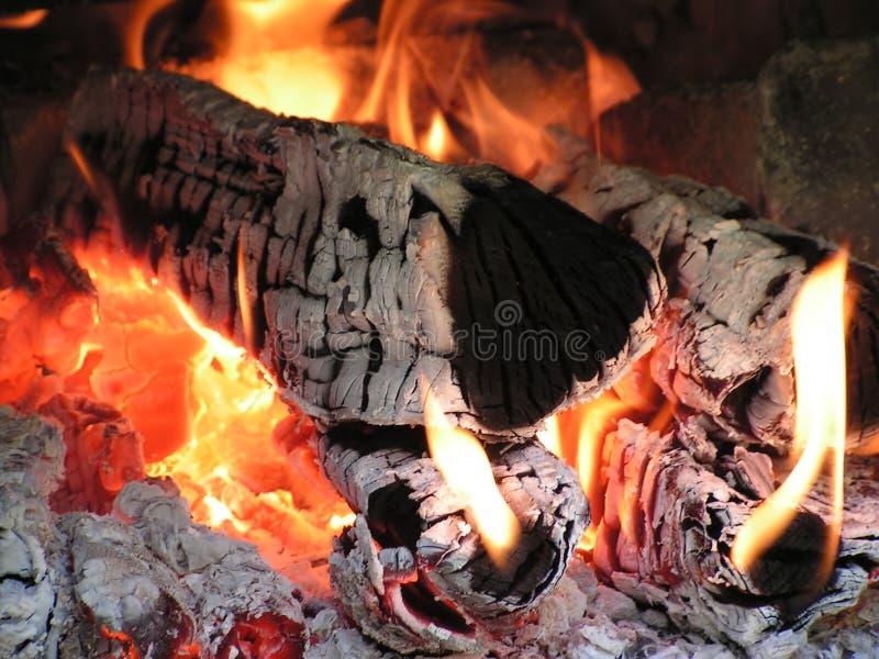灼烧的火木头 免版税库存图片