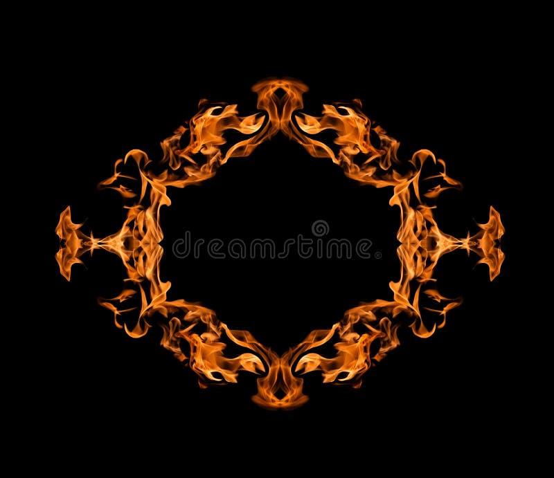 灼烧的火框架 库存照片
