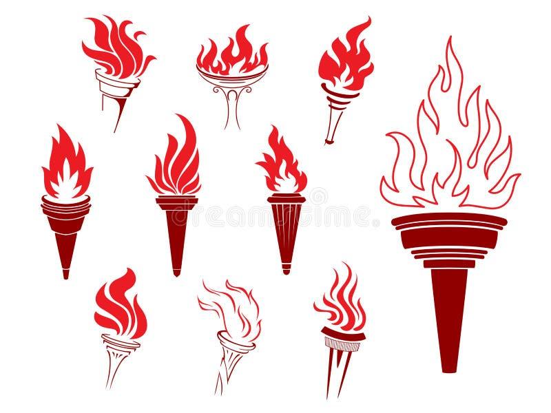 灼烧的火炬的汇集 向量例证
