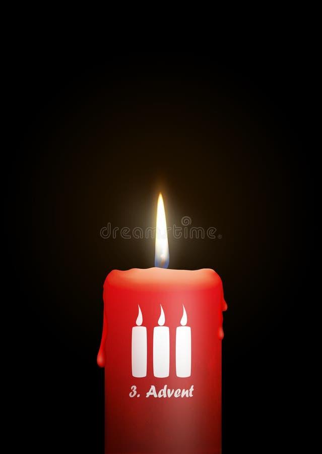 灼烧的红色蜡烛-第3星期天出现-被隔绝的烛光 库存例证