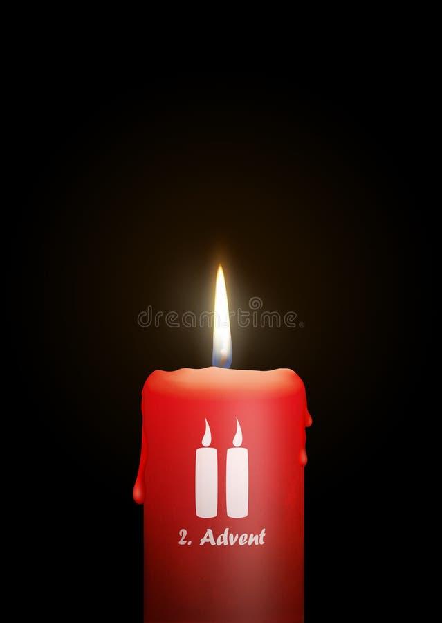 灼烧的红色蜡烛-第2星期天出现-被隔绝的烛光 库存例证