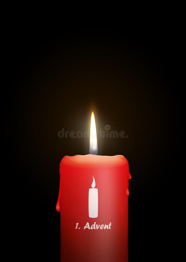 灼烧的红色蜡烛- 1th星期天出现-被隔绝的烛光 向量例证