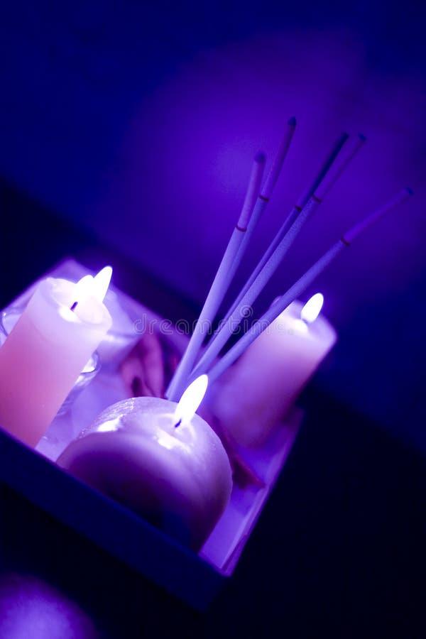 灼烧的蜡烛香火 库存照片