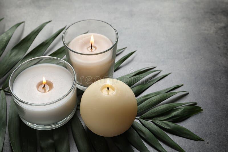 灼烧的蜡蜡烛和热带叶子 免版税库存照片