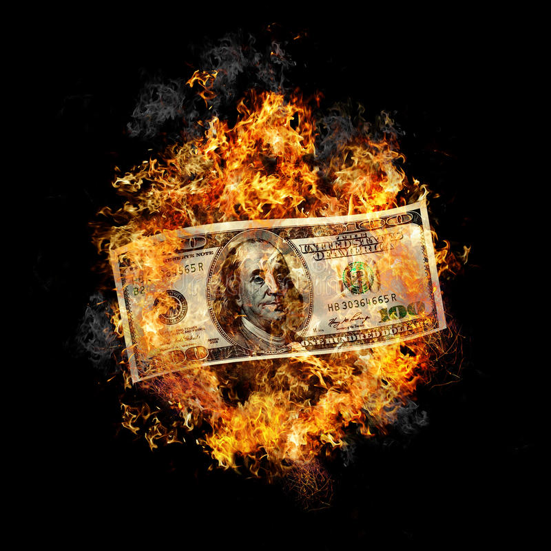 灼烧的货币 库存图片