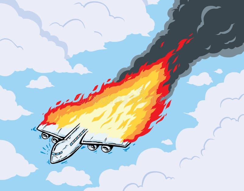 灼烧的飞机 皇族释放例证