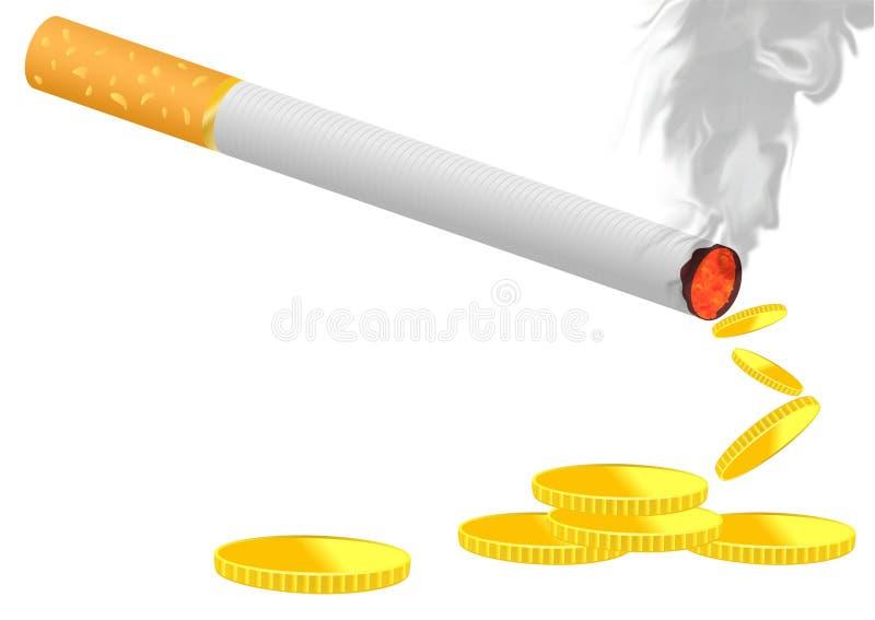 灼烧的香烟 皇族释放例证