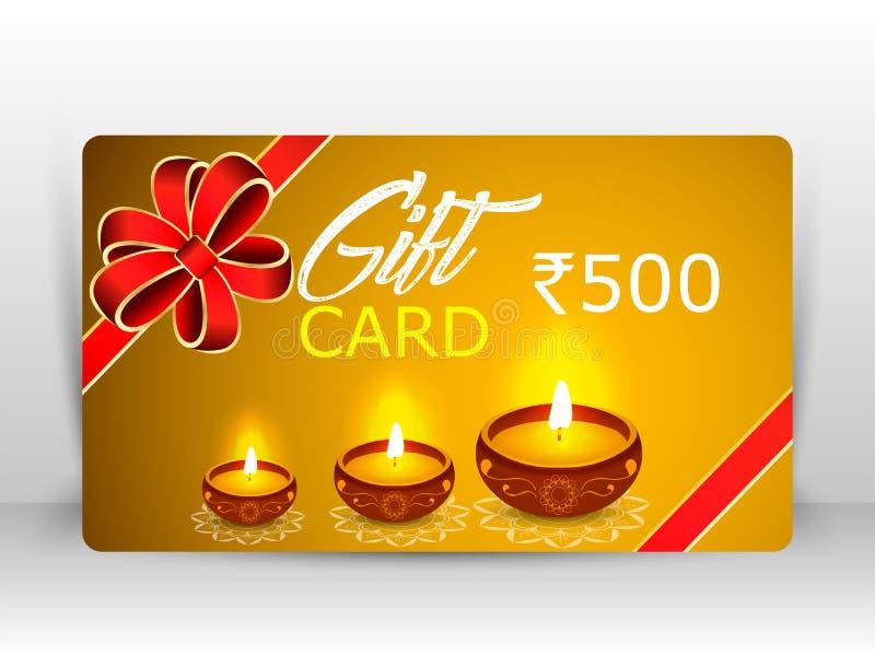 灼烧的diya, diwali礼品券的创造性的例证与烟花的 向量例证