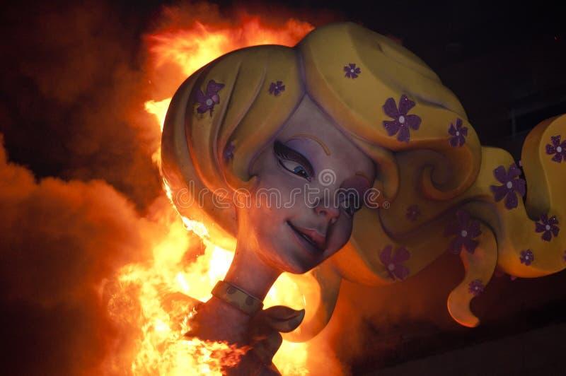 灼烧的fallas形象巨大的巴伦西亚 库存图片