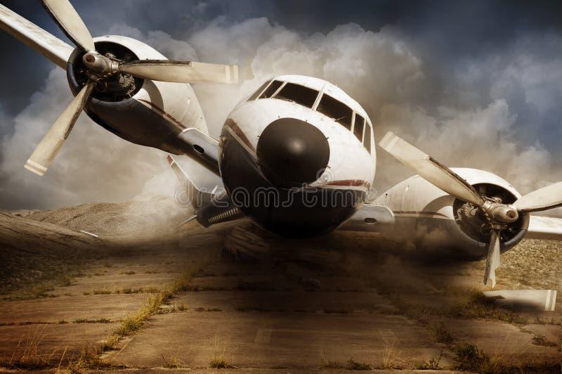 灾害飞机击毁 库存图片