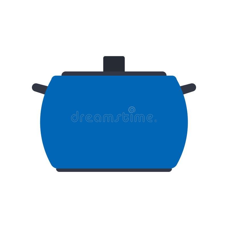 炊具家标志烹调内部 把柄厨师烹饪餐具工具传染媒介平的象 库存例证
