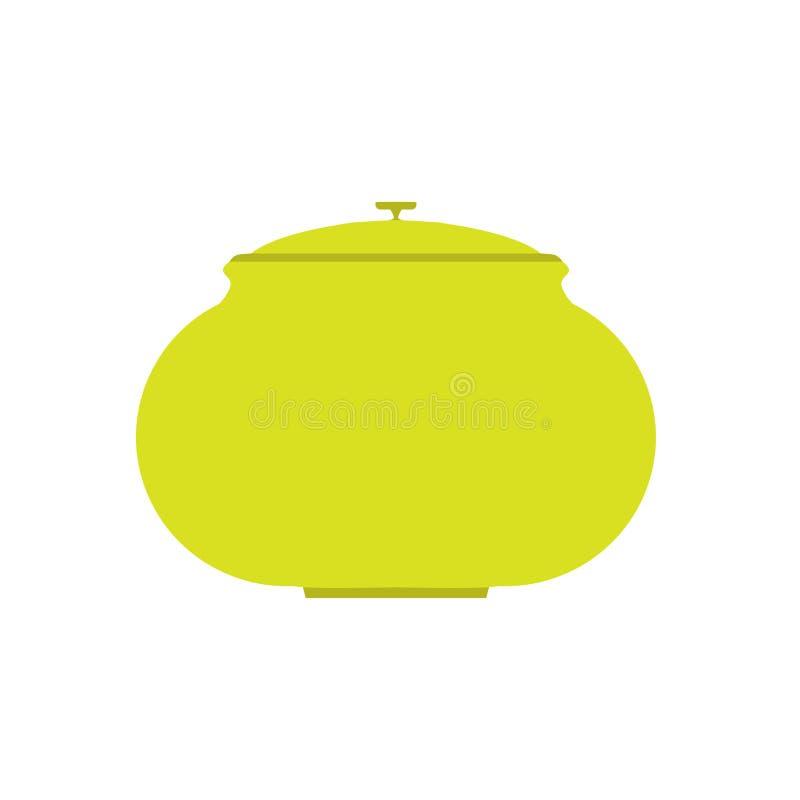 炊具家标志烹调内部 把柄绿色烹饪餐具工具传染媒介平的象 向量例证