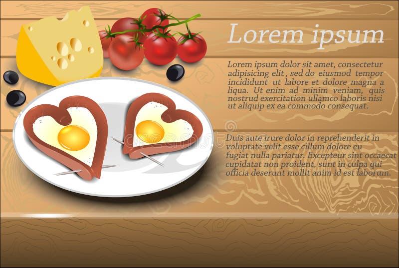 炒蛋用香肠在心脏在一块白色板材塑造 库存例证