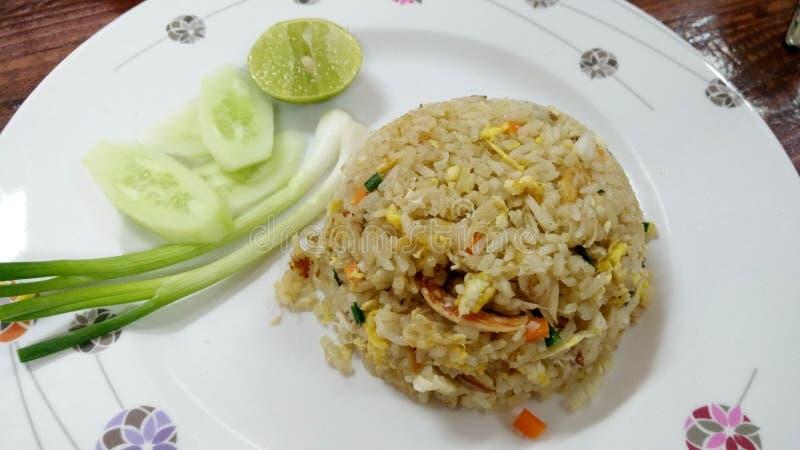 炒饭用猪肉/鸡/虾/泰国街道食物crabmeats菜单  免版税库存图片