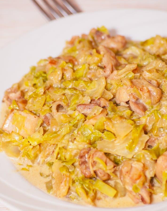 炖煮的食物圆白菜用肉 免版税库存图片