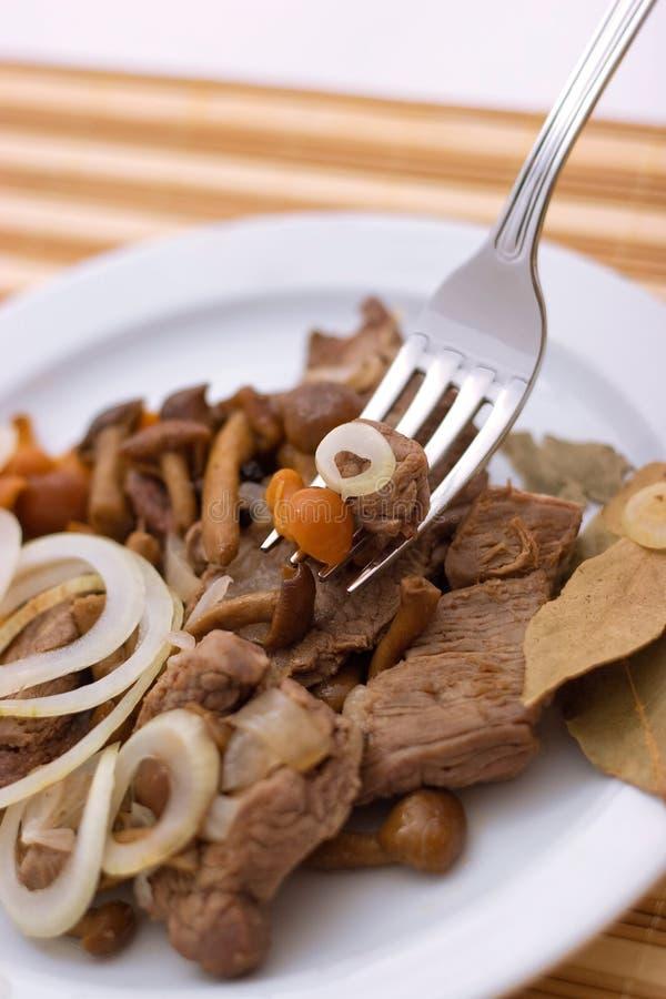 炖牛肉用野生蘑菇和葱在白色板材关闭在叉子,景深 库存照片