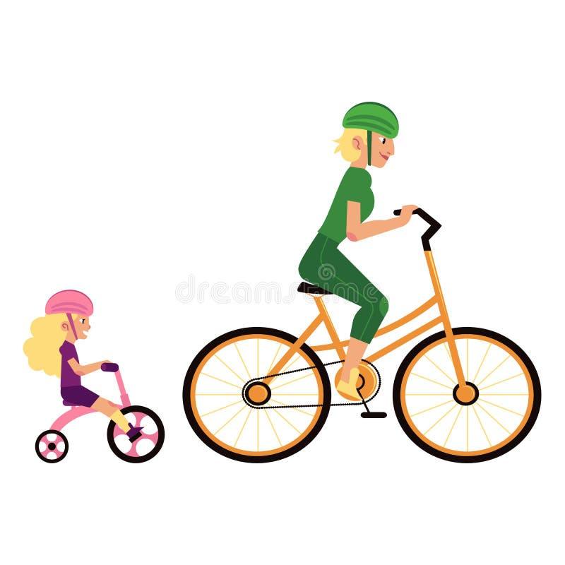 炫耀与母亲和女儿的家庭观念体育保护骑马周期的 库存例证