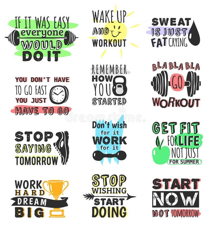 炫耀健身房,健身,跑诱导文本行情词组设计手拉的元素横幅健身房crossfit训练 向量例证
